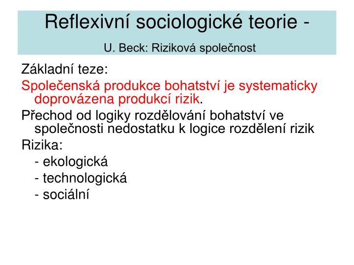 Reflexivn sociologick teorie -