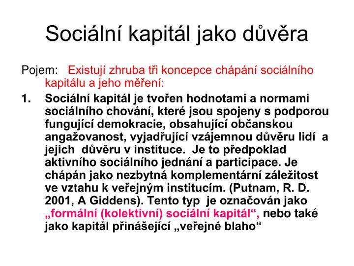 Sociln kapitl jako dvra