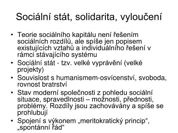 Sociln stt, solidarita, vylouen