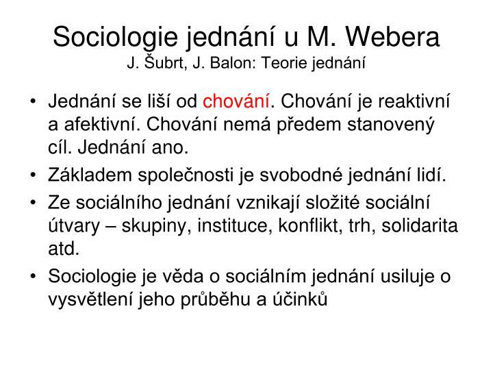 Sociologie jednn u M. Webera