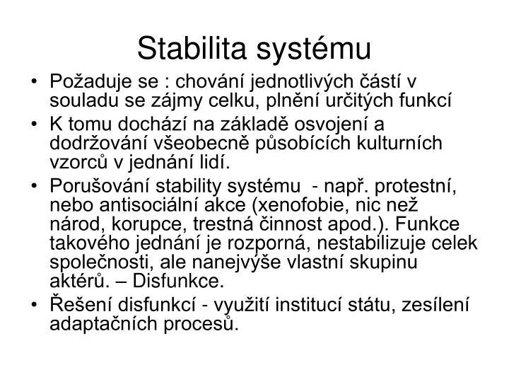 Stabilita systmu
