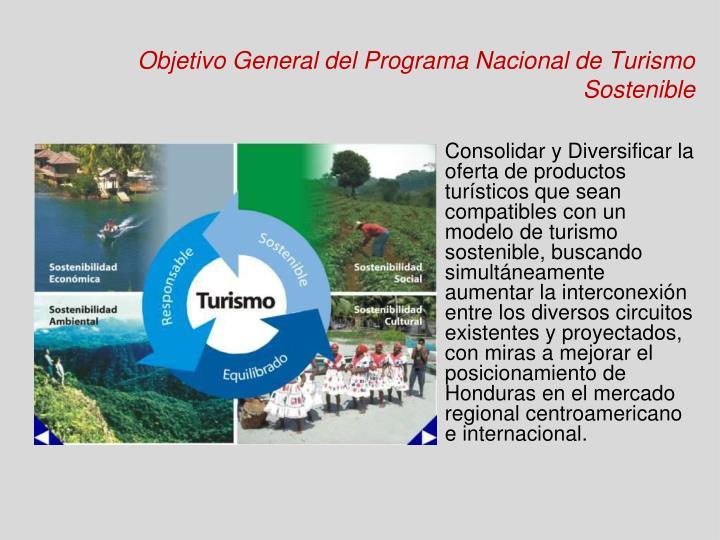 Objetivo General del Programa Nacional de Turismo Sostenible