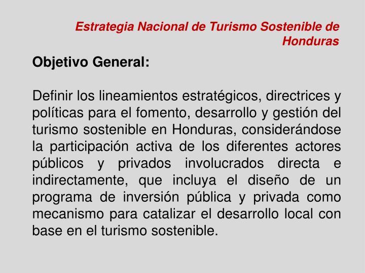 Estrategia Nacional de Turismo Sostenible de Honduras