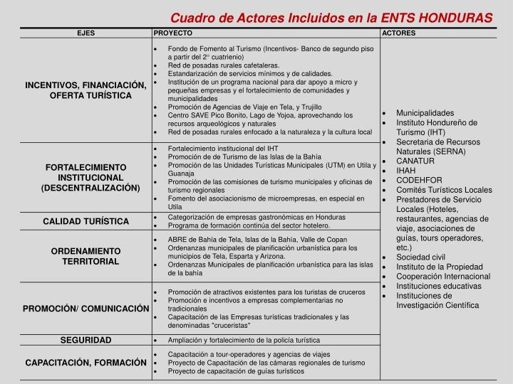 Cuadro de Actores Incluidos en la ENTS HONDURAS