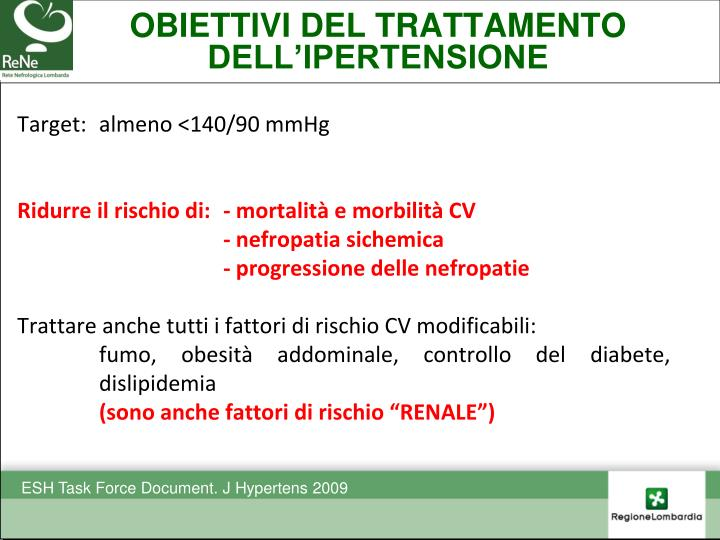Obiettivi del trattamento dell'ipertensione