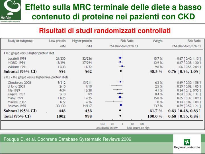 Effetto sulla MRC terminale delle diete a basso contenuto di proteine nei pazienti con CKD