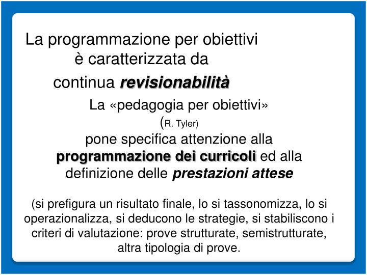 La programmazione per obiettivi