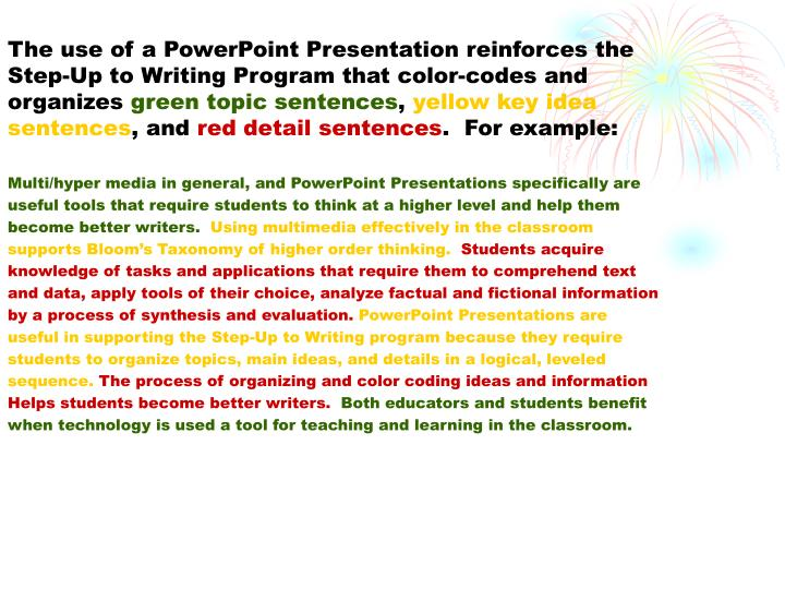 The use of a PowerPoint Presentation reinforces the Step-Up to Writing Program that color-codes and organizes