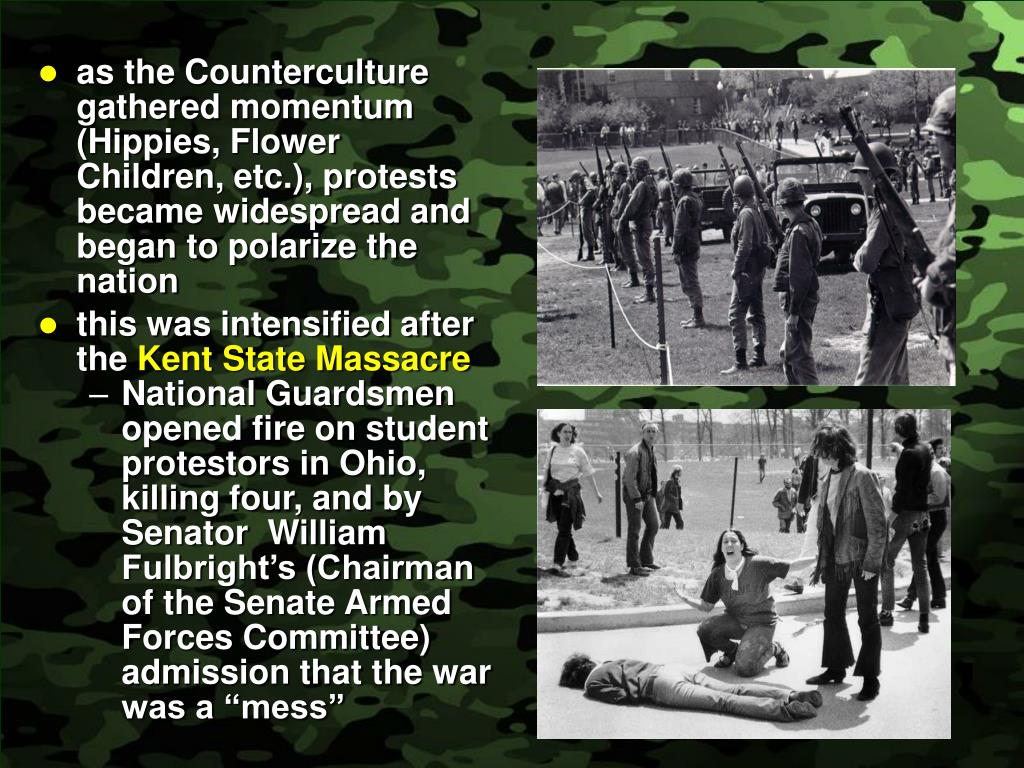 as the Counterculture gathered momentum (Hippies, Flower Children, etc.), protests became widespread and began to polarize the nation