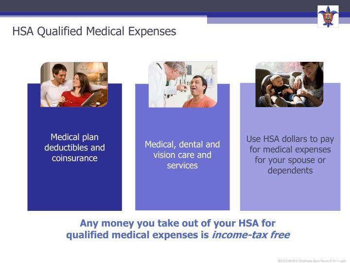 Use HSA dollars to pay for medical expenses for your spouse or dependents