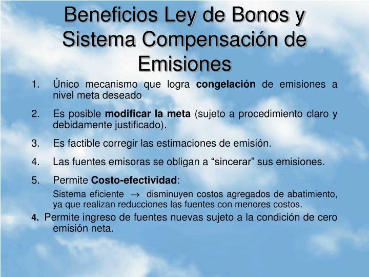 Beneficios Ley de Bonos y Sistema Compensación de Emisiones