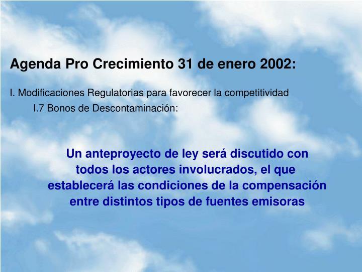 Agenda Pro Crecimiento 31 de enero 2002:
