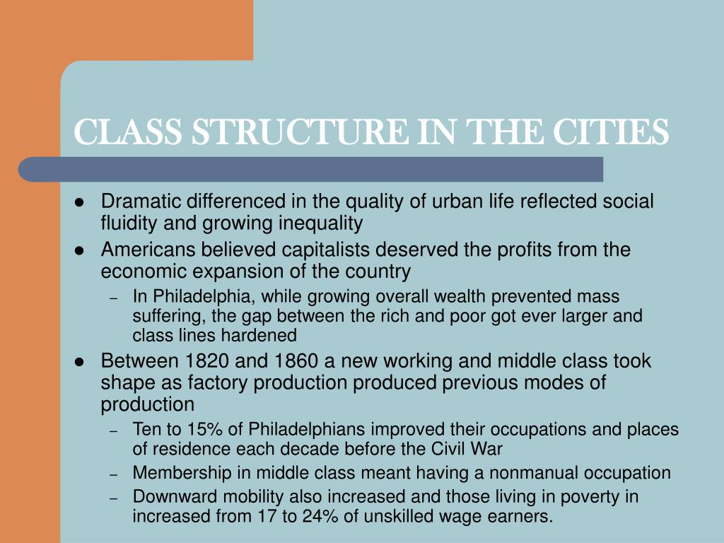 CLASS STRUCTURE IN THE CITIES