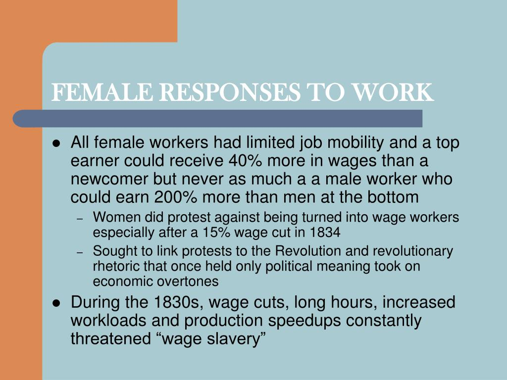 FEMALE RESPONSES TO WORK