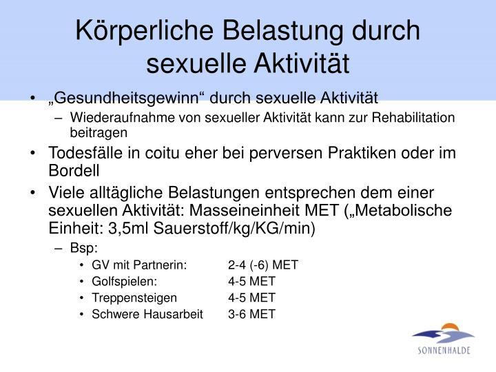 Körperliche Belastung durch sexuelle Aktivität