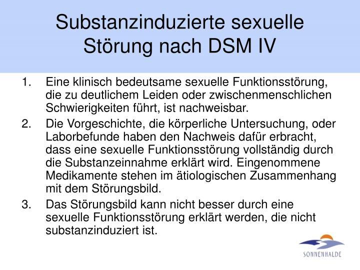 Substanzinduzierte sexuelle Störung nach DSM IV