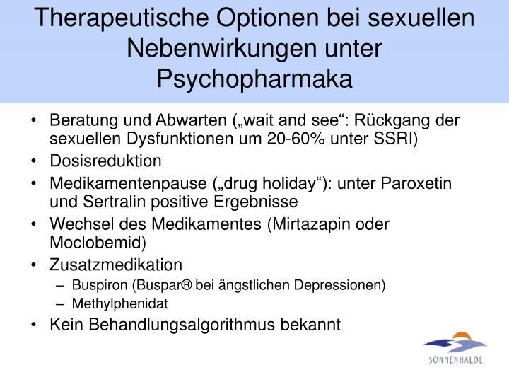 Therapeutische Optionen bei sexuellen Nebenwirkungen unter Psychopharmaka