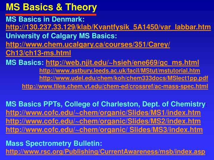 MS Basics & Theory