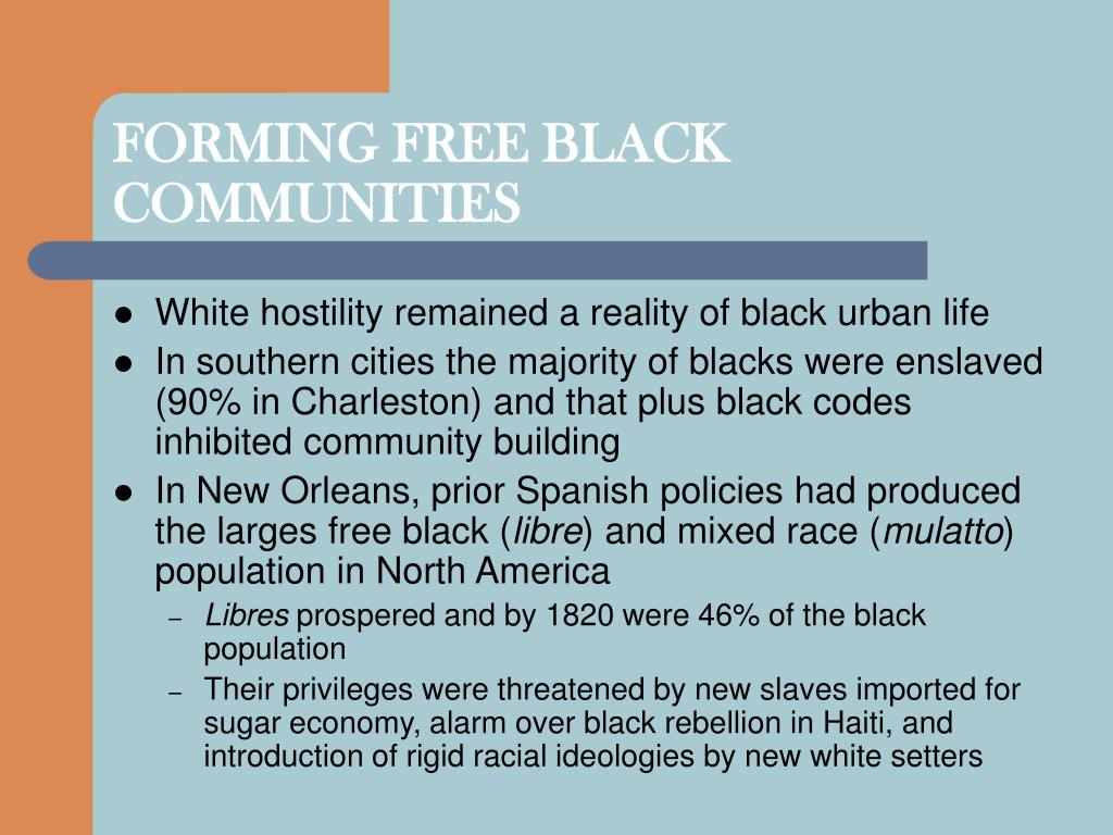 FORMING FREE BLACK COMMUNITIES