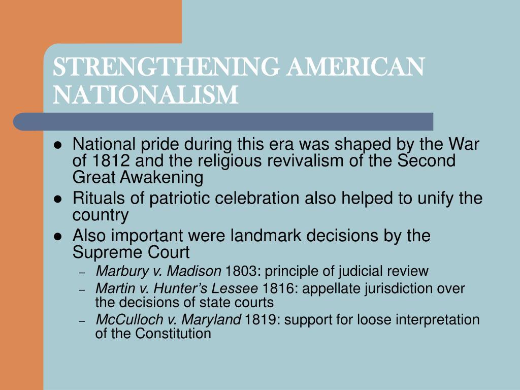 STRENGTHENING AMERICAN NATIONALISM