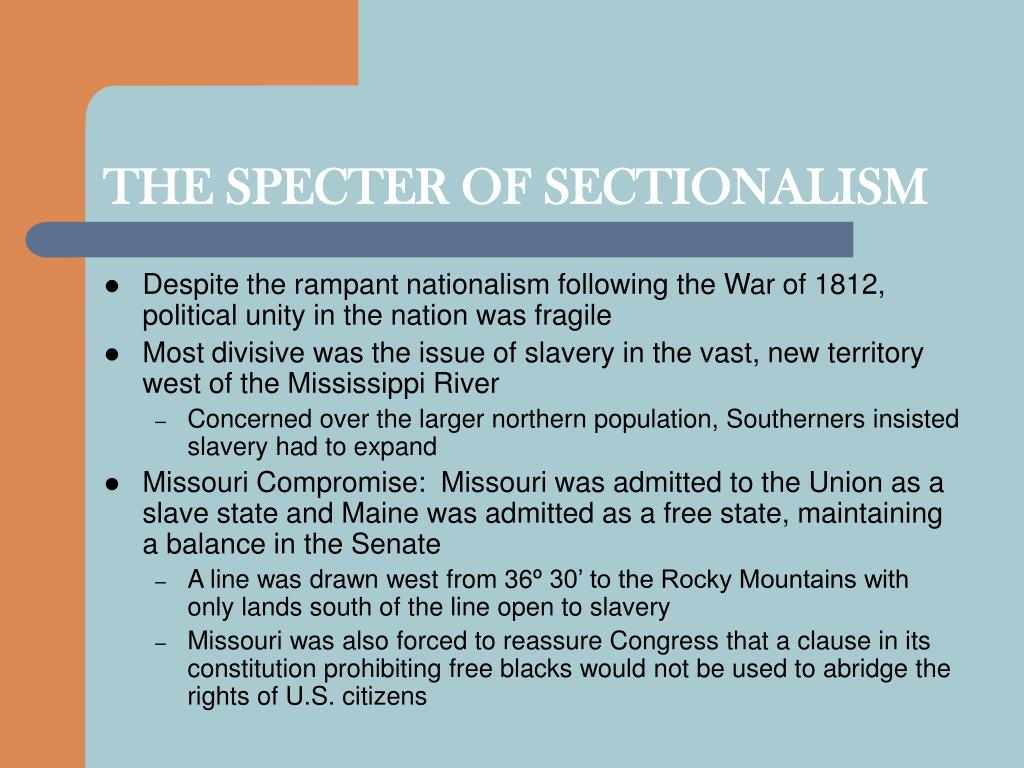 THE SPECTER OF SECTIONALISM