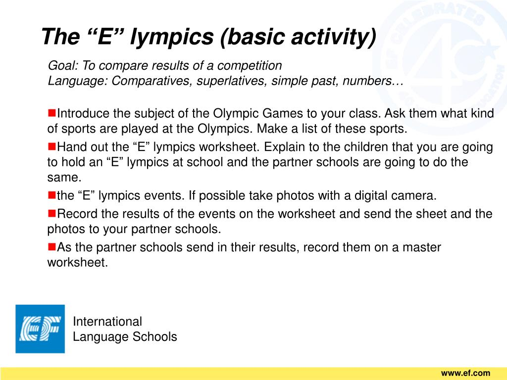 "The ""E"" lympics (basic activity)"
