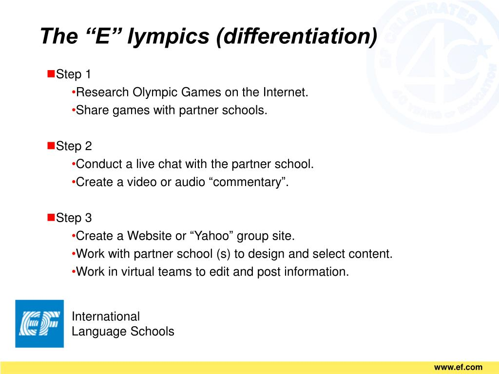 "The ""E"" lympics (differentiation)"