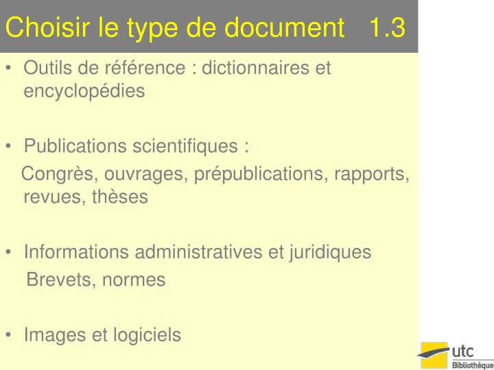 Choisir le type de document   1.3