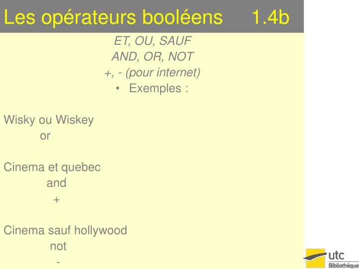Les opérateurs booléens     1.4b
