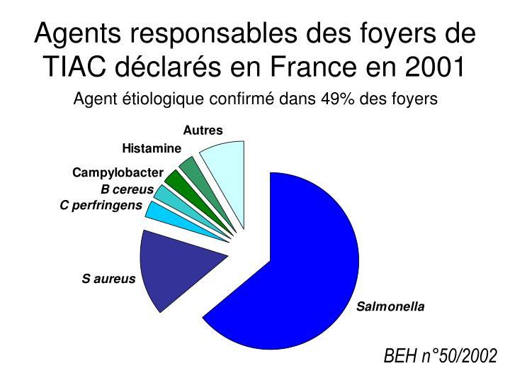 Agents responsables des foyers de TIAC déclarés en France en 2001