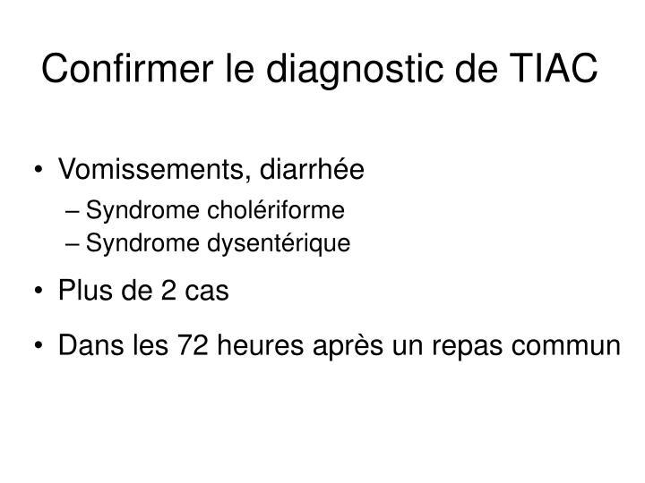 Confirmer le diagnostic de TIAC