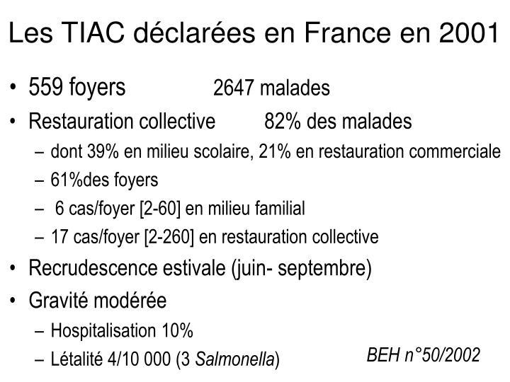 Les TIAC déclarées en France en 2001