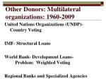 other donors multilateral organizations 1960 2009