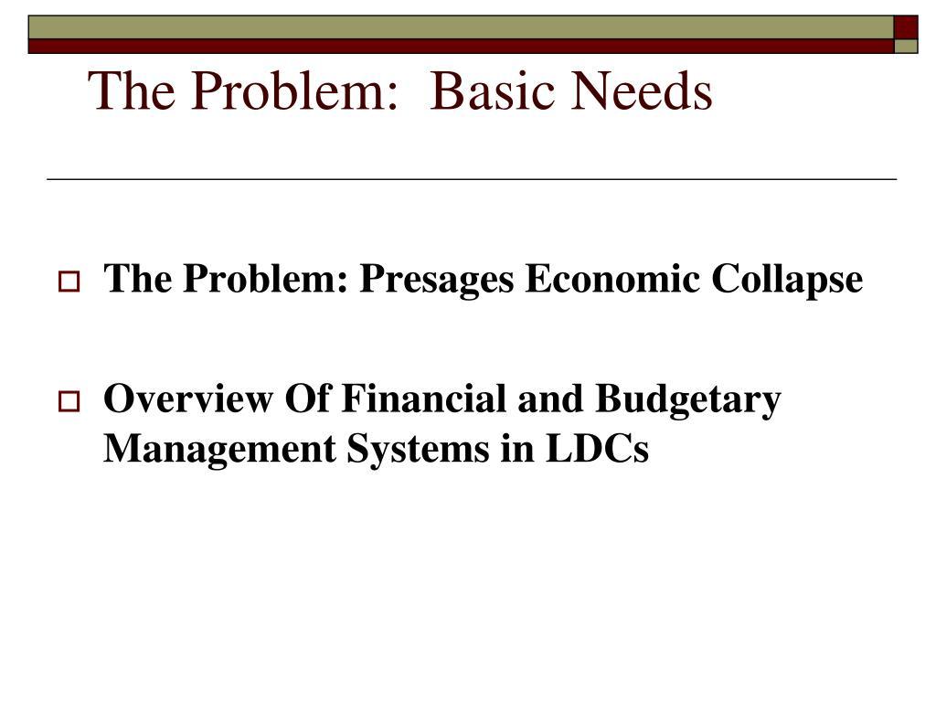 The Problem:  Basic Needs
