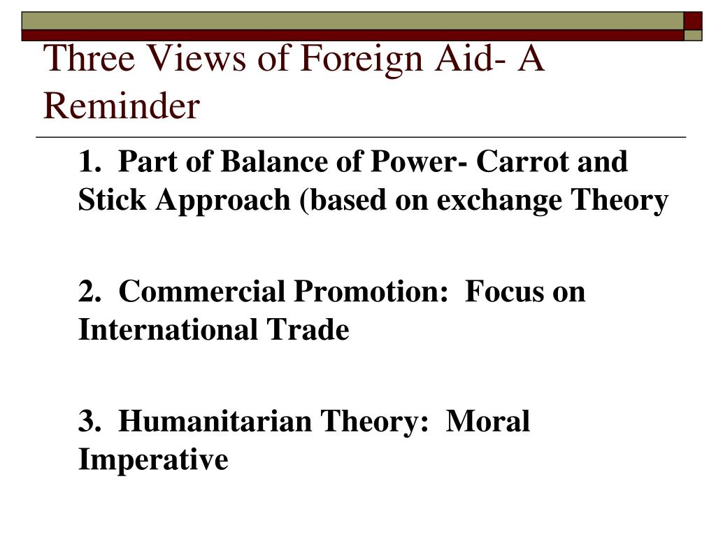 Three Views of Foreign Aid- A Reminder