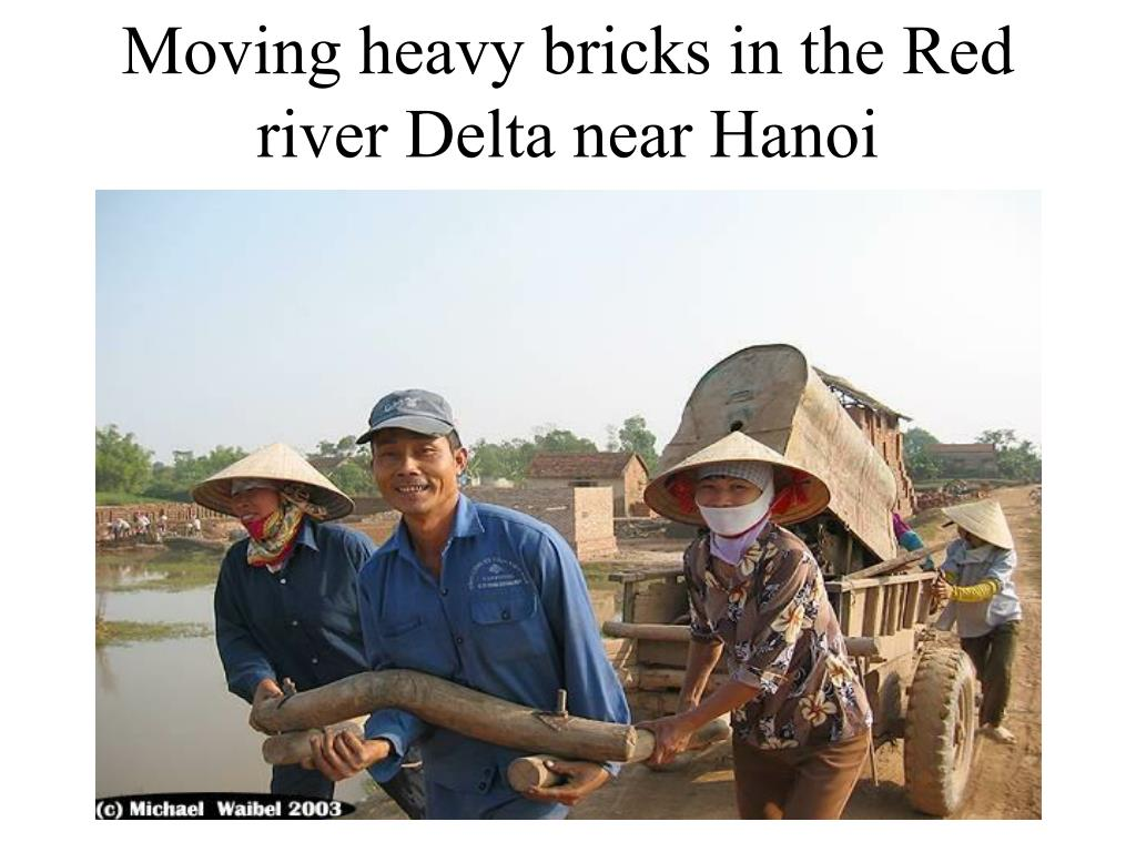 Moving heavy bricks in the Red river Delta near Hanoi
