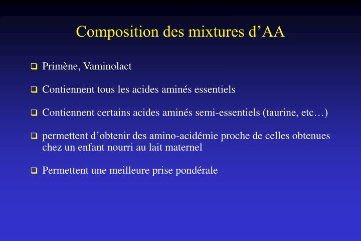 Composition des mixtures d'AA