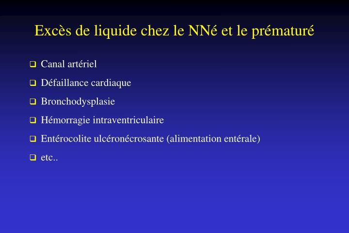 Excès de liquide chez le NNé et le prématuré