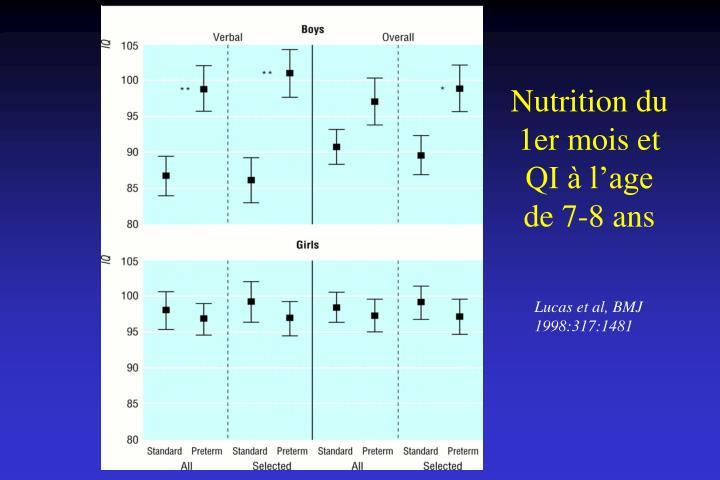 Nutrition du 1er mois et QI à l'age de 7-8 ans