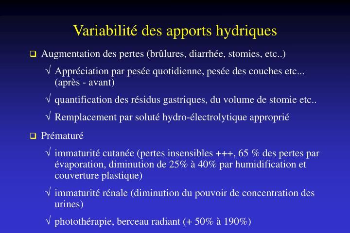 Variabilité des apports hydriques