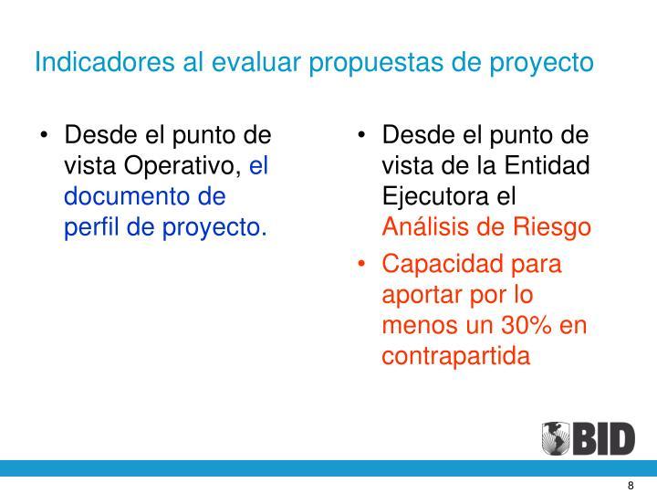 Indicadores al evaluar propuestas de proyecto