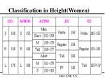 classification in height women