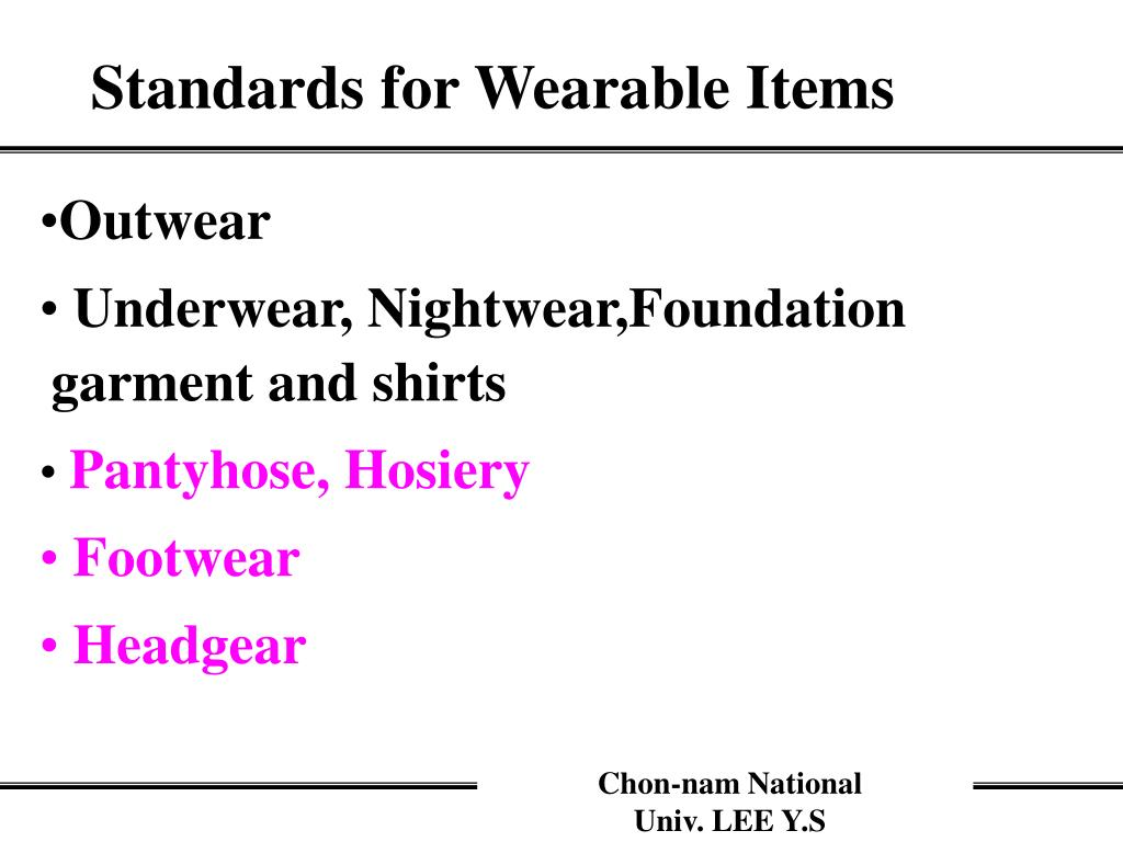 Standards for Wearable Items