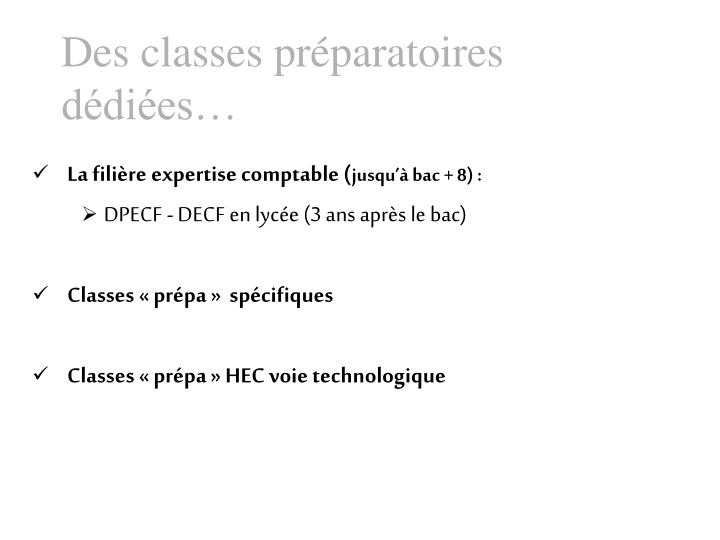 Des classes prparatoires ddies