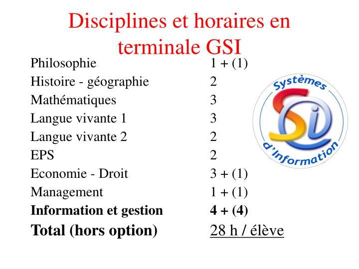 Disciplines et horaires en terminale GSI