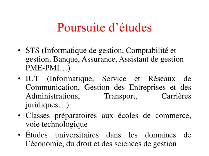 Poursuite dtudes