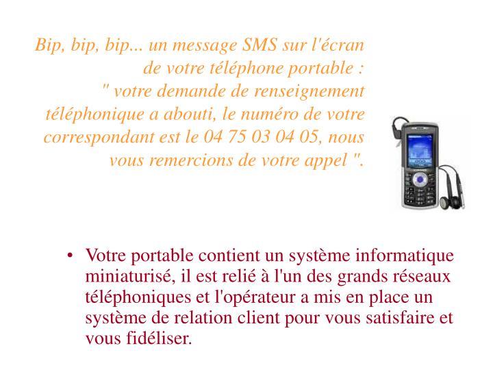 Bip, bip, bip... un message SMS sur l'cran de votre tlphone portable :