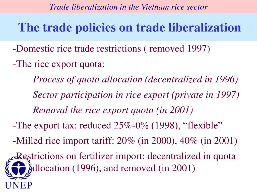 Trade liberalization in the Vietnam rice sector