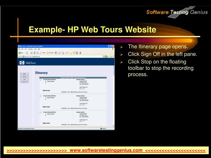 Example- HP Web Tours Website