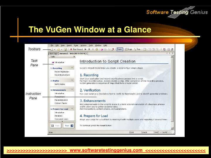 The VuGen Window at a Glance